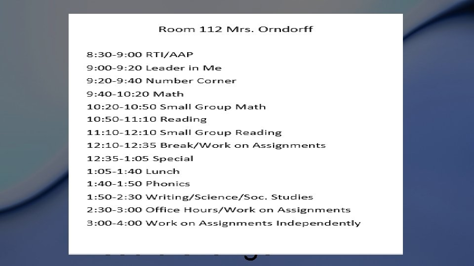 Schedule This could change!