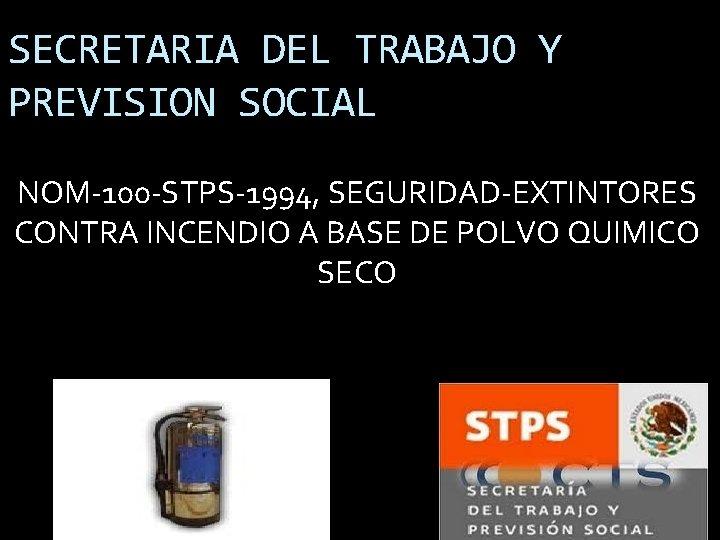 SECRETARIA DEL TRABAJO Y PREVISION SOCIAL NOM-100 -STPS-1994, SEGURIDAD-EXTINTORES CONTRA INCENDIO A BASE DE