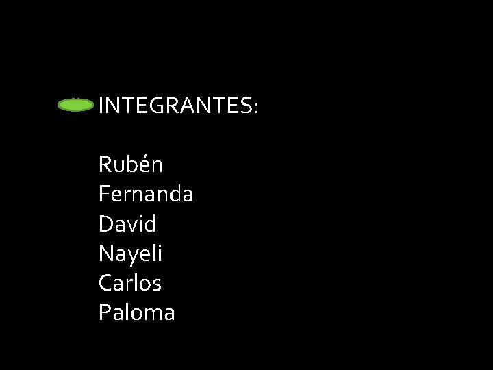 INTEGRANTES: Rubén Fernanda David Nayeli Carlos Paloma Integrantes: