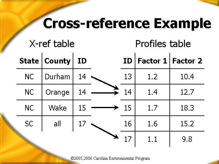 Cross-reference Example X-ref table Profiles table State County ID ID Factor 1 Factor 2