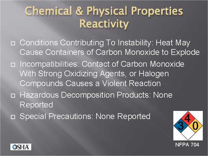 Chemical & Physical Properties Reactivity Conditions Contributing To Instability: Heat May Cause Containers of
