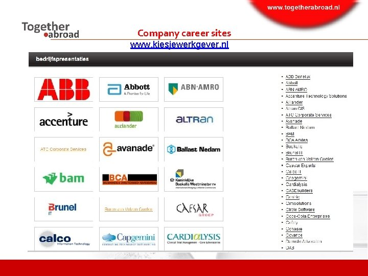 Company career sites www. kiesjewerkgever. nl
