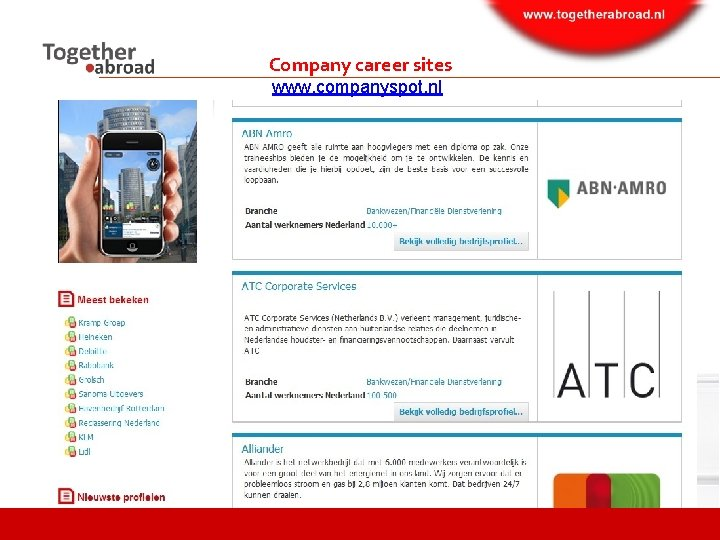 Company career sites www. companyspot. nl