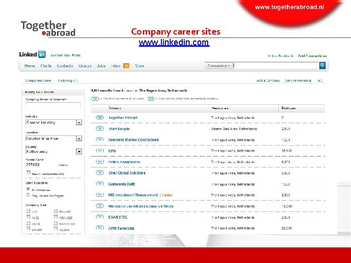 Company career sites www. linkedin. com
