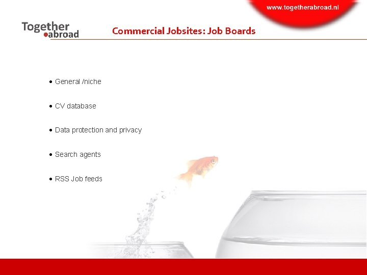 Commercial Jobsites: Job Boards General /niche CV database Data protection and privacy Search agents