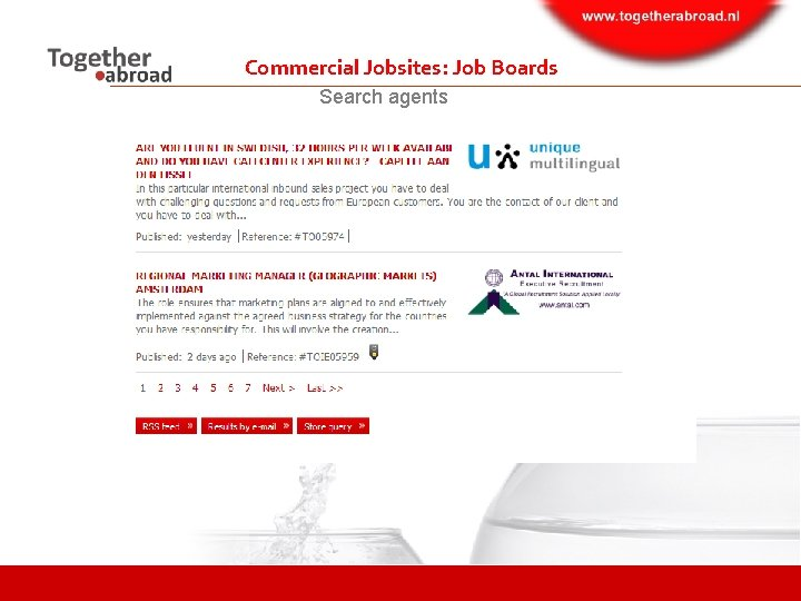 Commercial Jobsites: Job Boards Search agents