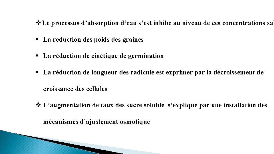 v. Le processus d'absorption d'eau s'est inhibé au niveau de ces concentrations sal §