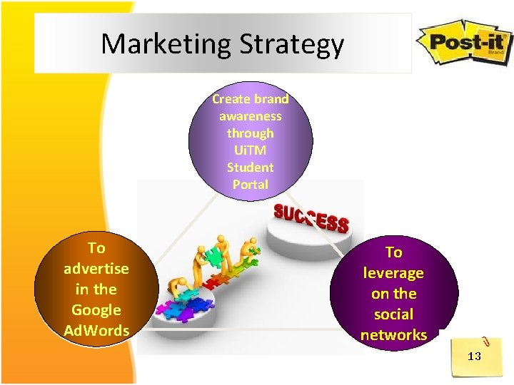 Marketing Strategy Create brand awareness through Ui. TM Student Portal To advertise in the