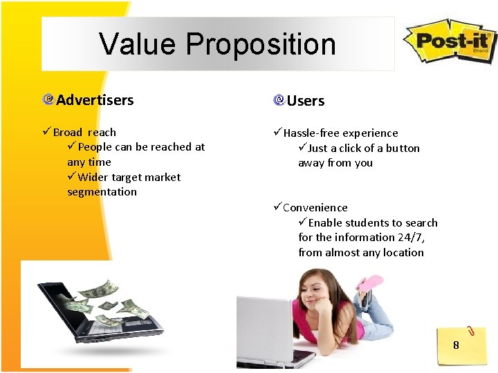 Value Proposition Advertisers üBroad reach üPeople can be reached at any time üWider target