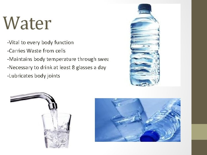 Water -Vital to every body function -Carries Waste from cells -Maintains body temperature through