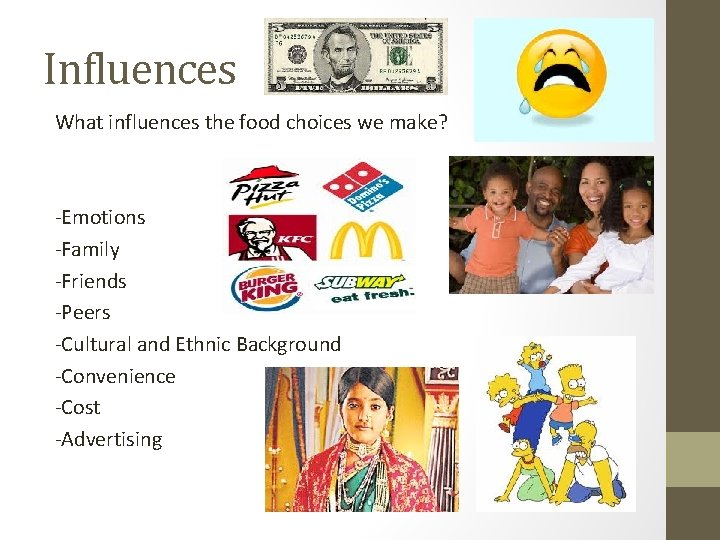 Influences What influences the food choices we make? -Emotions -Family -Friends -Peers -Cultural and