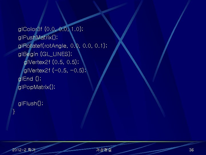 gl. Color 3 f (0. 0, 1. 0); gl. Push. Matrix(); gl. Rotatef(rot. Angle,