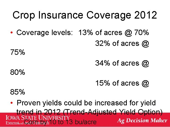 Crop Insurance Coverage 2012 • Coverage levels: 13% of acres @ 70% 32% of