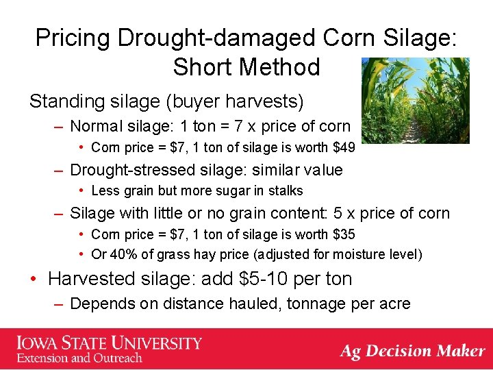 Pricing Drought-damaged Corn Silage: Short Method Standing silage (buyer harvests) – Normal silage: 1