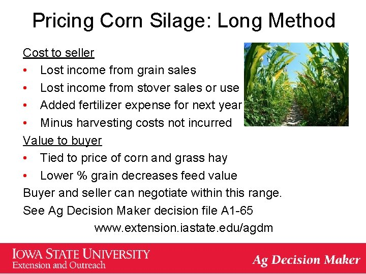 Pricing Corn Silage: Long Method Cost to seller • Lost income from grain sales