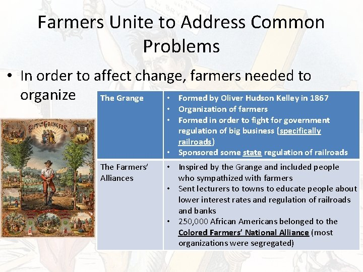 Farmers Unite to Address Common Problems • In order to affect change, farmers needed