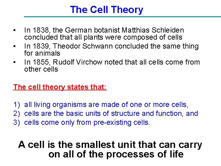 The Cell Theory • • • In 1838, the German botanist Matthias Schleiden concluded