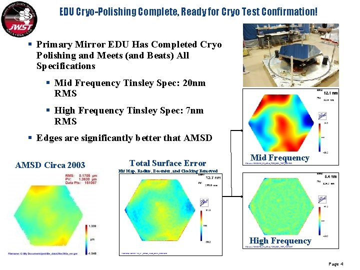 EDU Cryo-Polishing Complete, Ready for Cryo Test Confirmation! § Primary Mirror EDU Has Completed