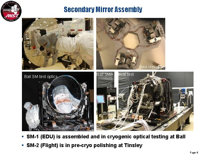 Secondary Mirror Assembly SM substrate SMA Hexapod Ball SM test optics Ball SMA optical