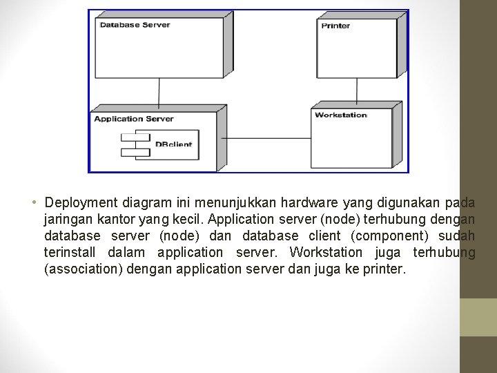 • Deployment diagram ini menunjukkan hardware yang digunakan pada jaringan kantor yang kecil.