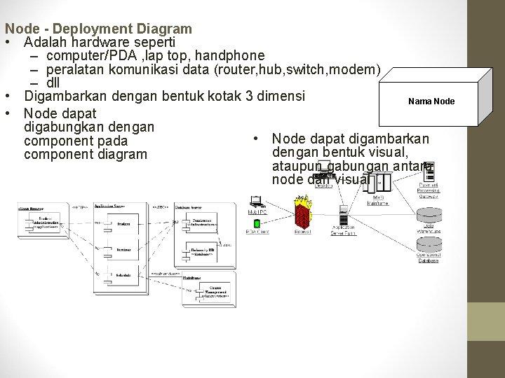 Node - Deployment Diagram • Adalah hardware seperti – computer/PDA , lap top, handphone