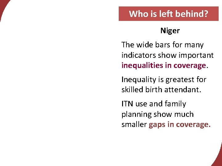 Who is left behind? Niger The wide bars for many indicators show important inequalities