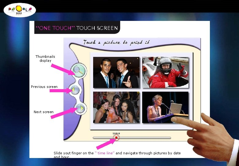 ''ONE TOUCH'' TOUCH SCREEN Thumbnails display Previous screen Next screen Slide yout finger on