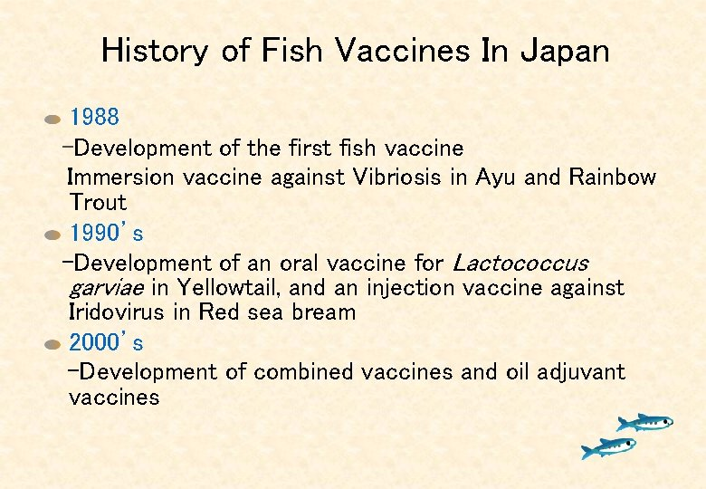 History of Fish Vaccines In Japan 1988   -Development of the first fish vaccine Immersion