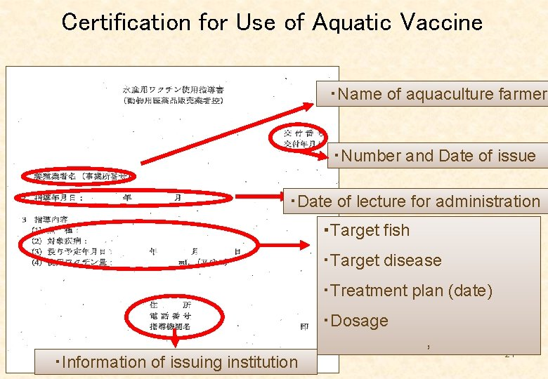 Certification for Use of Aquatic Vaccine ・Name of aquaculture farmer ・Number and Date of
