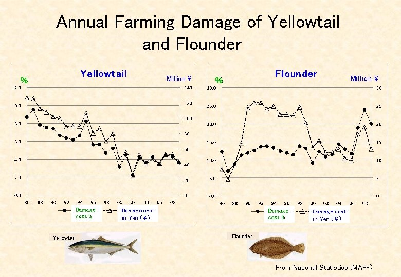 Annual Farming Damage of Yellowtail and Flounder  Million  Yellowtail Flounder From National Statistics