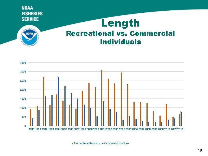 Length Recreational vs. Commercial Individuals 3500 3000 2500 2000 1500 1000 500 0 1991