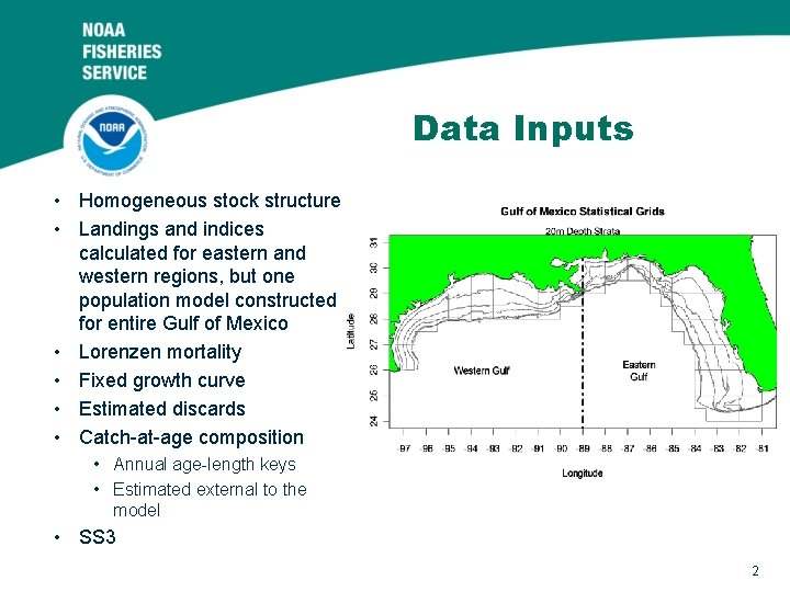 Data Inputs • Homogeneous stock structure • Landings and indices calculated for eastern and