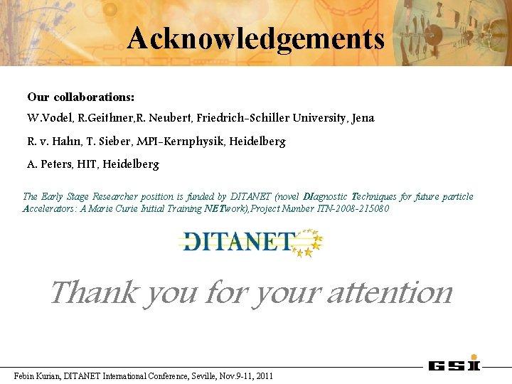 Acknowledgements Our collaborations: W. Vodel, R. Geithner, R. Neubert, Friedrich-Schiller University, Jena R. v.