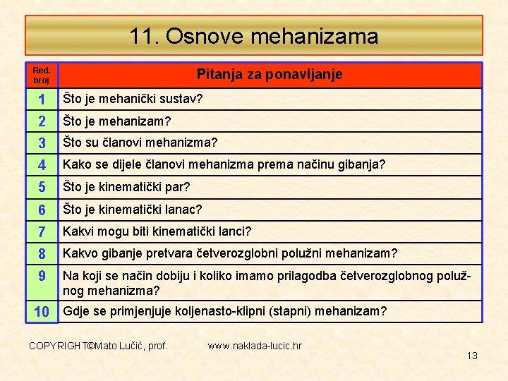 11. Osnove mehanizama Red. broj Pitanja za ponavljanje 1 Što je mehanički sustav? 2