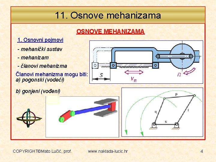 11. Osnove mehanizama OSNOVE MEHANIZAMA 1. Osnovni pojmovi - mehanički sustav - mehanizam -