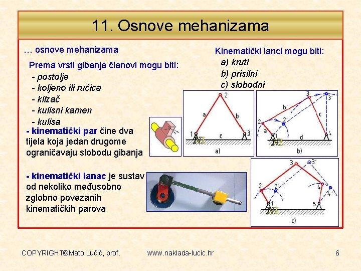 11. Osnove mehanizama … osnove mehanizama Prema vrsti gibanja članovi mogu biti: - postolje