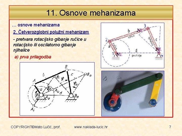 11. Osnove mehanizama … osnove mehanizama 2. Četverozglobni polužni mehanizam - pretvara rotacijsko gibanje