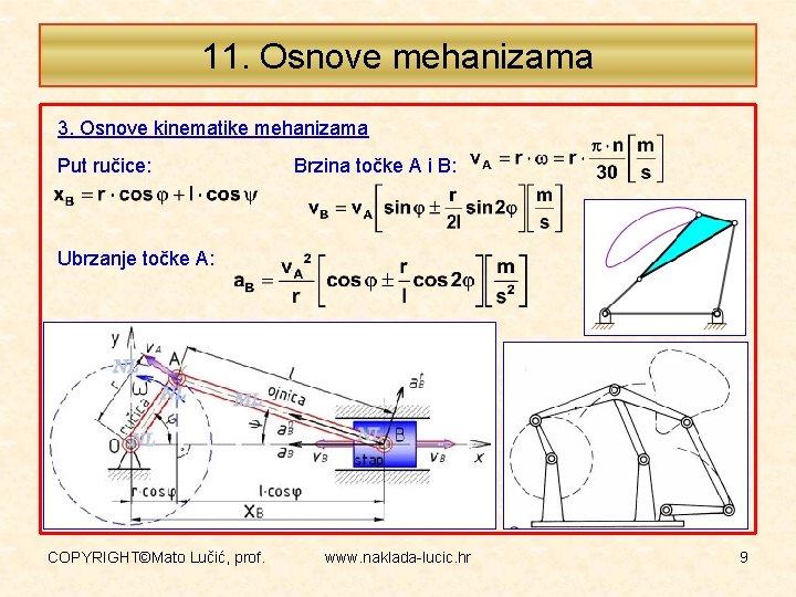 11. Osnove mehanizama 3. Osnove kinematike mehanizama Put ručice: Brzina točke A i B: