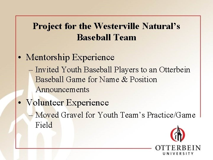 Project for the Westerville Natural's Baseball Team • Mentorship Experience – Invited Youth Baseball