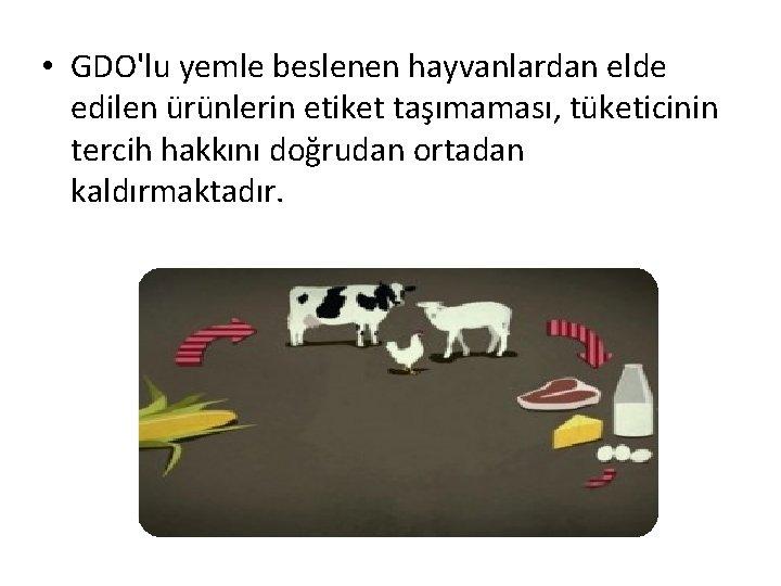• GDO'lu yemle beslenen hayvanlardan elde edilen ürünlerin etiket taşımaması, tüketicinin tercih hakkını
