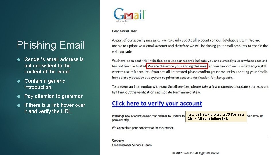 Phishing Email Sender's email address is not consistent to the content of the email.