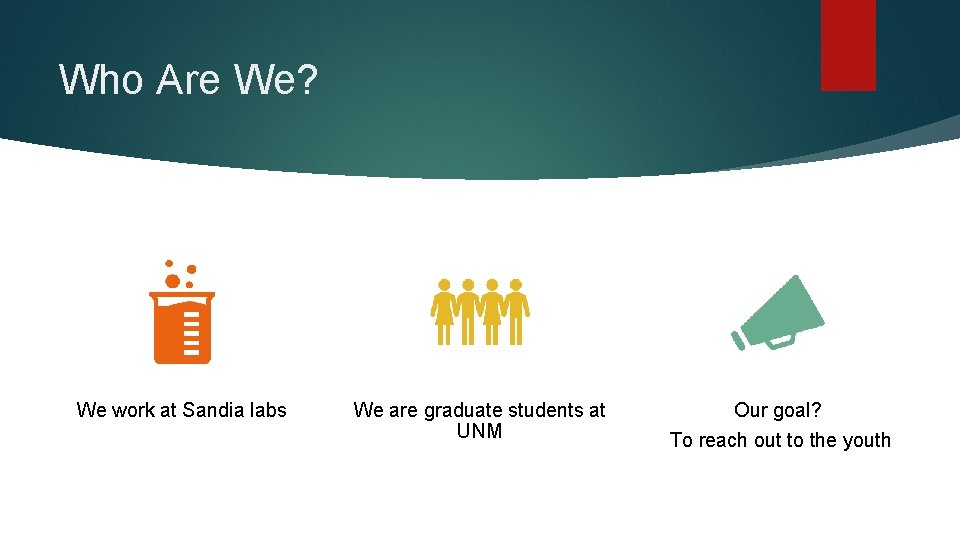 Who Are We? We work at Sandia labs We are graduate students at UNM