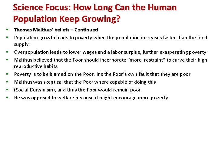 Science Focus: How Long Can the Human Population Keep Growing? § Thomas Malthus' beliefs
