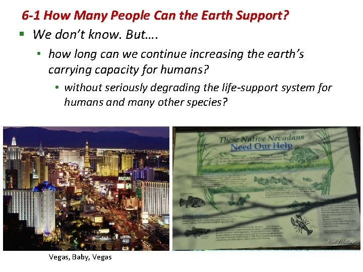 6 -1 How Many People Can the Earth Support? § We don't know. But….