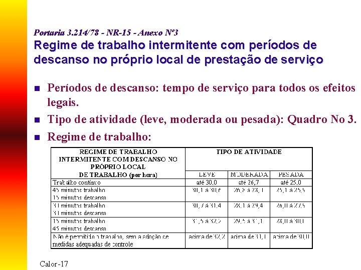 Portaria 3. 214/78 - NR-15 - Anexo Nº 3 Regime de trabalho intermitente com