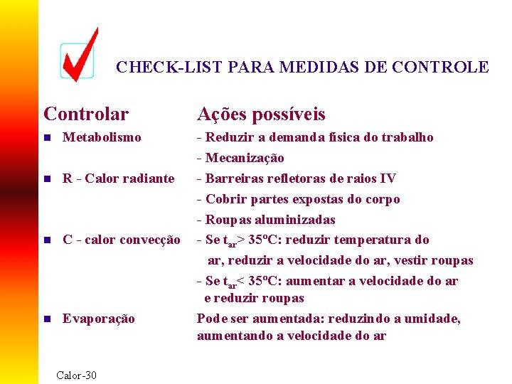CHECK-LIST PARA MEDIDAS DE CONTROLE Controlar n Metabolismo n R - Calor radiante n