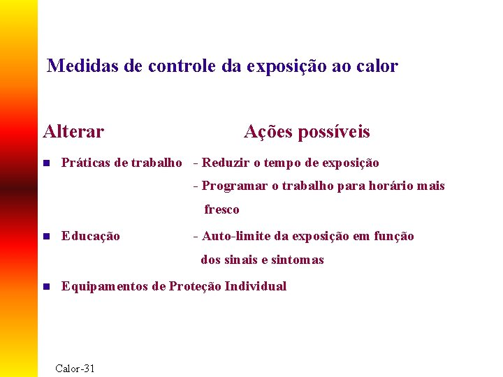 Medidas de controle da exposição ao calor Alterar n Ações possíveis Práticas de trabalho
