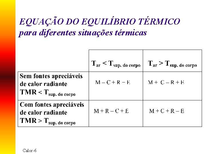 EQUAÇÃO DO EQUILÍBRIO TÉRMICO para diferentes situações térmicas Calor-6