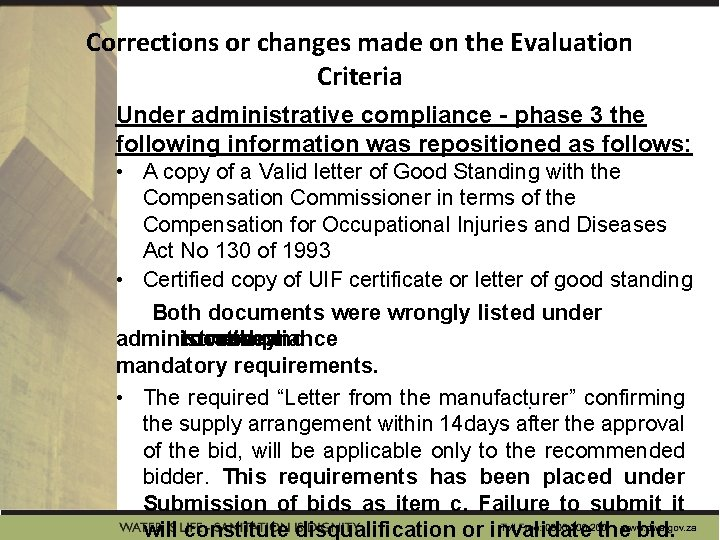Corrections or changes made on the Evaluation Criteria Under administrative compliance - phase 3