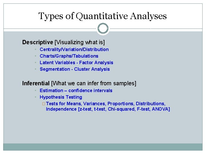 Types of Quantitative Analyses Descriptive [Visualizing what is] • • Centrality/Variation/Distribution Charts/Graphs/Tabulations Latent Variables